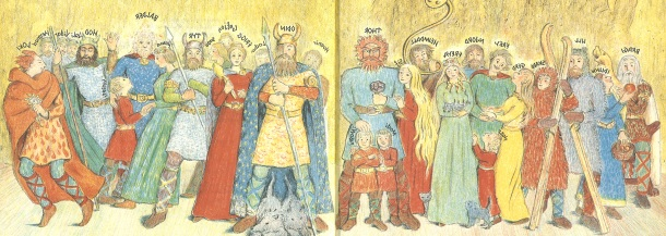 The pantheon of Norse gods.  Key figures include: Odin, father of the gods; Thor, the thunder god; Frigg, Odin's wife; Frey and Freya; Balder, god of beauty; Heimdall, the watchman; and Loki, the trickster god of fire.
