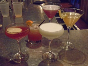 Classical Cocktails (l. to r.) Jack Rose, Ward 8, Gin Fizz, Between the Sheets, and in back, the Mary Pickford.