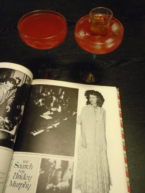 Reincarnation cocktails and a page from the Time-Life Books This Fabulous Century 1950-1960, detailing the Bridey Murphy craze.