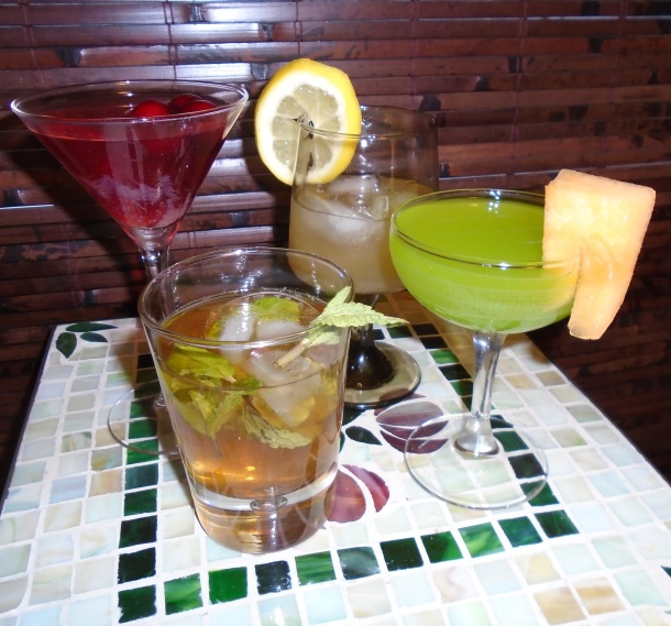 (l. to r.) Scarlett O'Hara, Ashley Wilkes, Rhett Butler, and Melanie Hamilton Gone with the Wind inspired cocktails